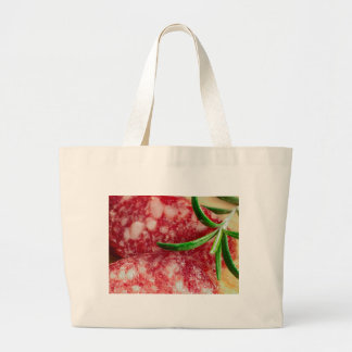 Macro view of the sausage and bacon large tote bag