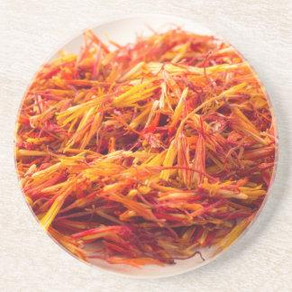 Macro view on fragrant saffron closeup coaster