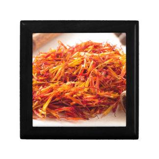 Macro view on fragrant saffron closeup gift box