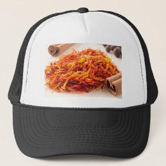 Macro view on fragrant saffron closeup trucker hat