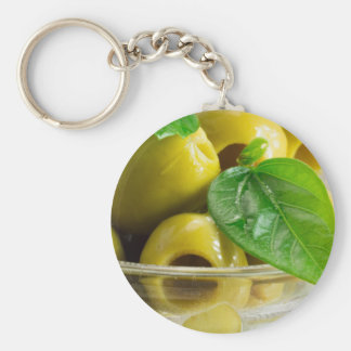 Macro view on olives close-up key ring