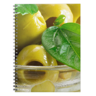 Macro view on olives close-up notebooks