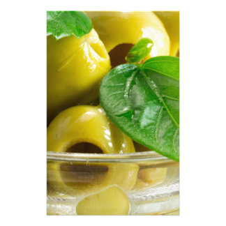Macro view on olives close-up stationery