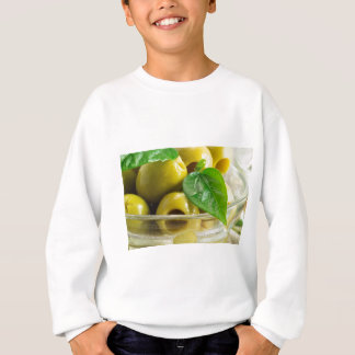 Macro view on olives close-up sweatshirt