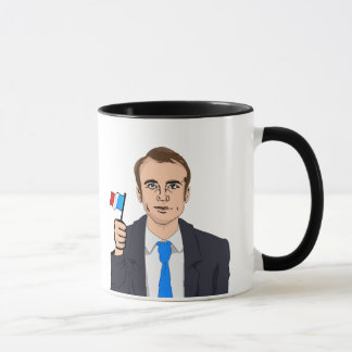 Macron Cartoon with French Flag Mug