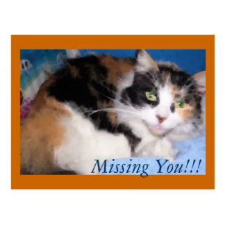 Macy girl oil painting, Missing You!!! postcard