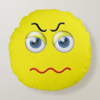 Mad Angry Emoji Round Cushion