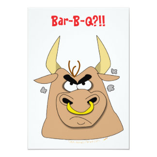 Mad Bull Funny Barbecue Party Invitations Template
