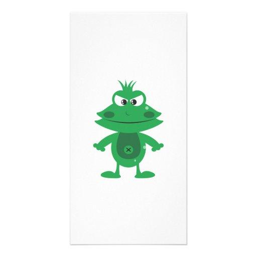 Mad Cartoon Frog Customized Photo Card