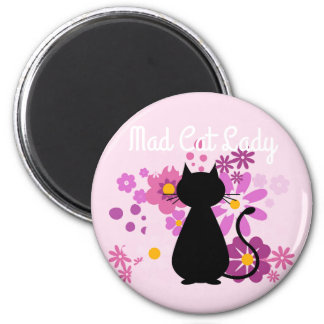 """Mad Cat Lady"" Cat in Pink Flowers Magnet"