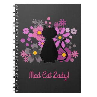 """""""Mad Cat Lady!"""" Cat in Pink Flowers Spiral Note Notebooks"""