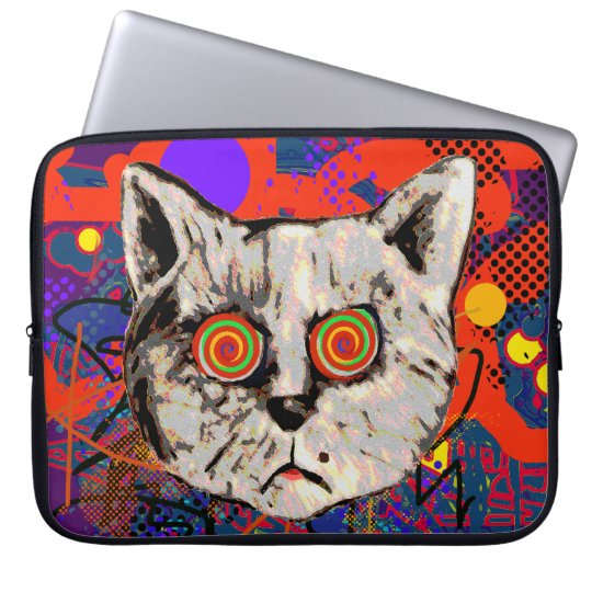 mad cat meow laptop sleeve