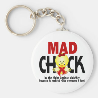 Mad Chick In The Fight AIDS Keychains