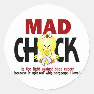 Mad Chick In The Fight Bone Cancer Round Sticker