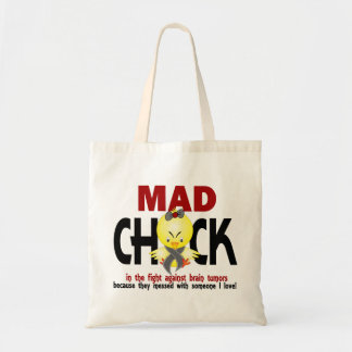 Mad Chick In The Fight Brain Tumor Budget Tote Bag