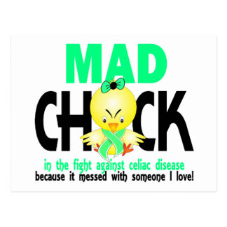 Mad Chick In The Fight Celiac Disease Postcard