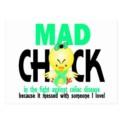Mad Chick In The Fight Celiac Disease Post Cards