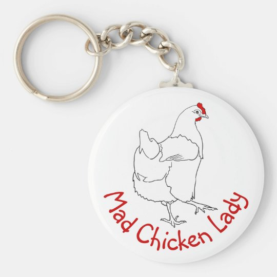 Mad Chicken Lady Funny line drawing quirky design Key Ring