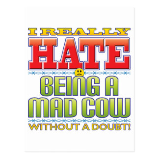 Mad Cow Hate Face Postcard