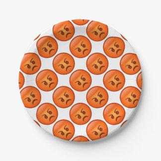Mad Emoji Face 7 Inch Paper Plate