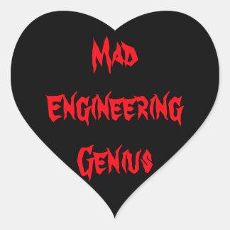 Mad Engineering Genius Geeky Geek Nerd Gifts Heart Sticker