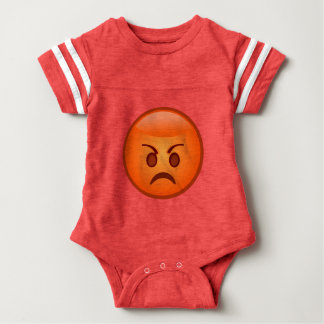 Mad Face Emoji Baby Football Bodysuit