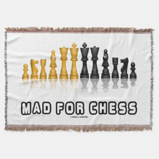 Mad For Chess Reflective Chess Set Geek Humor Throw Blanket