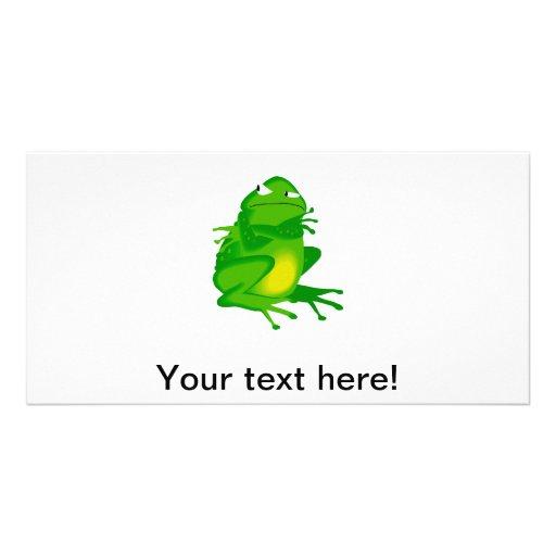 Mad frog cartoon custom photo card