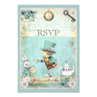 Mad Hatter Alice in Wonderland RSVP Card