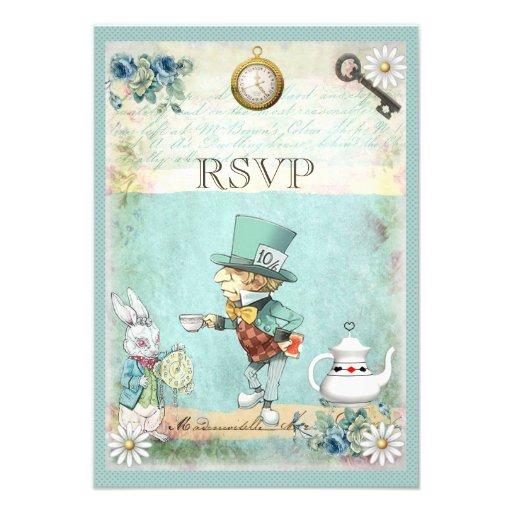 Mad Hatter Alice in Wonderland RSVP Custom Invitations