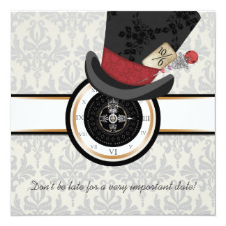Mad Hatter Alice in Wonderland Wedding Invitation