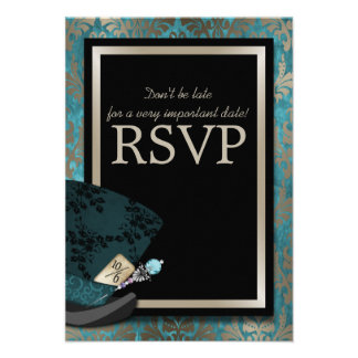 Mad Hatter Alice in Wonderland Wedding RSVP Card