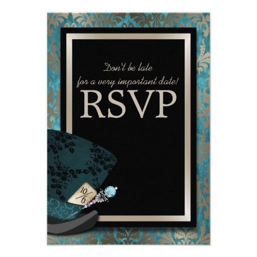 Mad Hatter Alice in Wonderland Wedding RSVP Card
