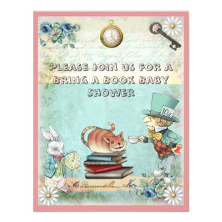 Mad Hatter Bring a Book Baby Shower for Girls Announcements