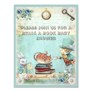 Mad Hatter & Cat Bring a Book Baby Shower 11 Cm X 14 Cm Invitation Card