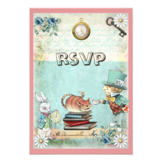 Mad Hatter Cat RSVP Bring a Book Baby Shower Personalized Announcements