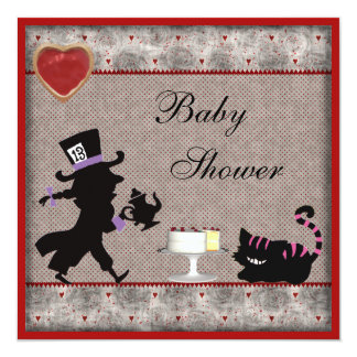 Mad Hatter & Cheshire Cat Baby Shower Tea Party 13 Cm X 13 Cm Square Invitation Card
