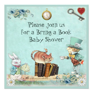 Mad Hatter & Cheshire Cat Bring a Book Shower Personalized Invitation