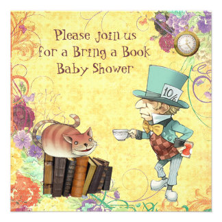 Mad Hatter & Cheshire Cat Bring a Book Shower Personalized Invitations