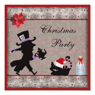 """Mad Hatter & Cheshire Cat Christmas Party Invites 5.25"""" Square Invitation Card"""