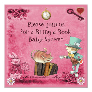 Mad Hatter & Cheshire Cat Pink Bring a Book 13 Cm X 13 Cm Square Invitation Card