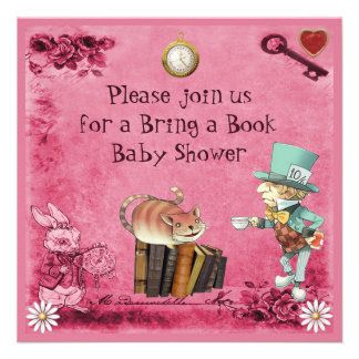 Mad Hatter & Cheshire Cat Pink Bring a Book Invitation