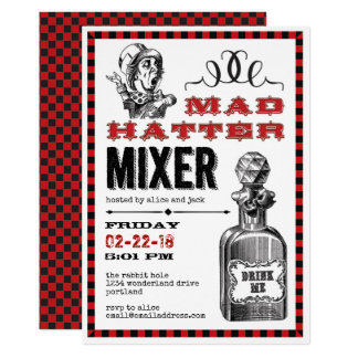 Mad Hatter Mixer Party on White Card
