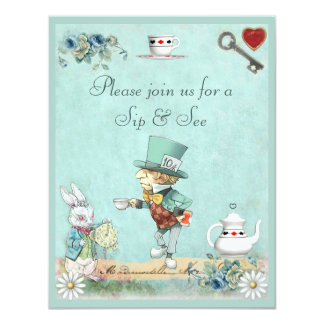 Mad Hatter Sip & See Baby Shower Card
