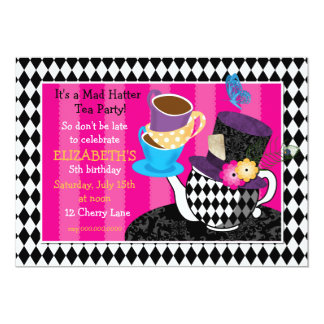 Mad Hatter Tea Party Birthday Invitation-diamond 13 Cm X 18 Cm Invitation Card