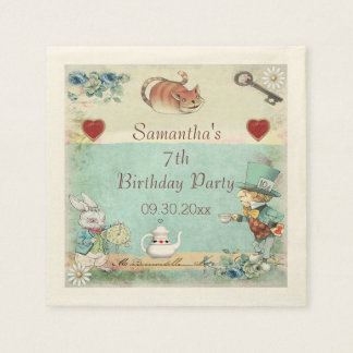 Mad Hatter Tea Party Birthday Party Personalized Paper Napkin