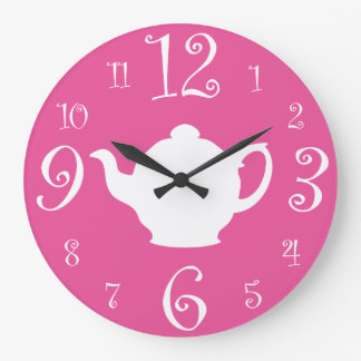 Mad Hatter Tea Party Cute Pink and White Wall Clocks