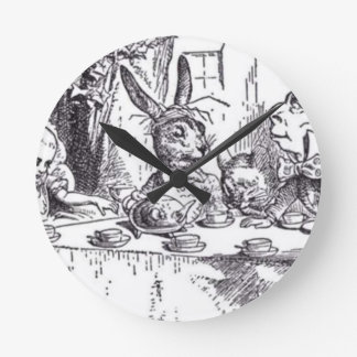Mad Hatter Tea Party Round Clock