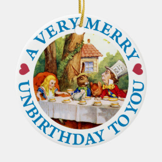 Mad Hatter Wishes Alice a Very Merry Unbirthday Ceramic Ornament