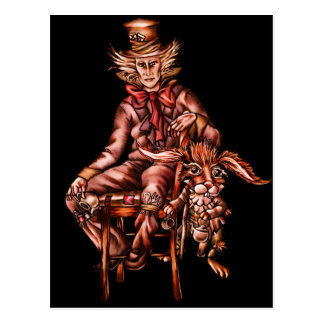 Mad Hatter with March Hare Drawing Postcard